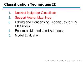 Classification Techniques II