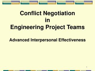 Conflict Negotiation in Engineering Project Teams Advanced ...