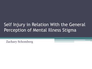 Self Injury in Relation With the General Perception of Mental Illness Stigma
