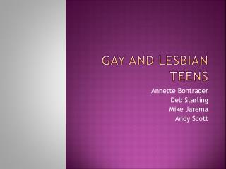 Gay and Lesbian Teens