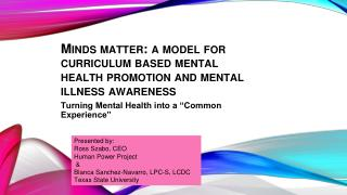 Minds matter: a model for curriculum based mental health promotion and mental illness awareness