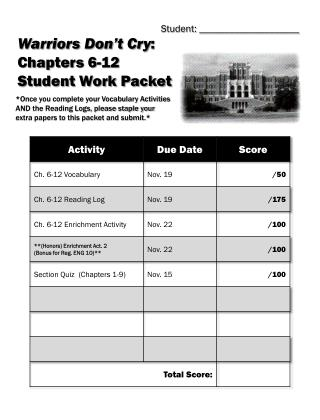Warriors Don�t Cry :  Chapters 6-12 Student Work Packet