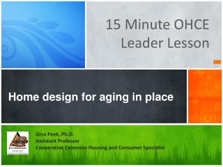 Home design for aging in place