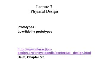 Lecture 7 Physical Design