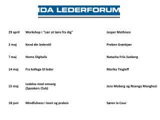 17:30 Ankomst, kaffe/te og networking 17:50Velkomst ved IDA LederforumHS, Søren Weiss Hartmann
