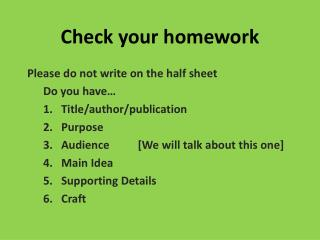 Check your homework