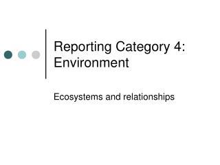 Reporting Category  4: Environment