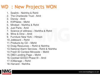 WD  : New Projects WON