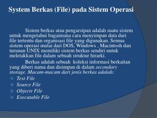 System  Berkas  (File)  pada Sistem Operasi
