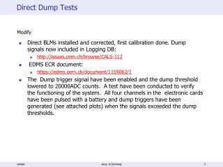 Direct Dump Tests