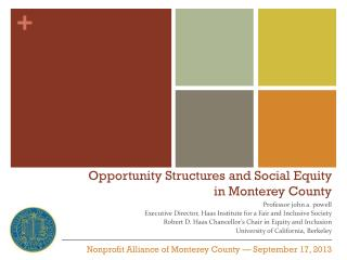 Opportunity Structures and Social Equity  in Monterey County