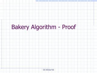 Bakery Algorithm - Proof