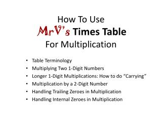 How To Use MrV�s Times Table For Multiplication