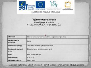 Vyjmenovaná slova Český jazyk, 4. ročník VY_32_INOVACE_473,  24. sada,  ČJ3