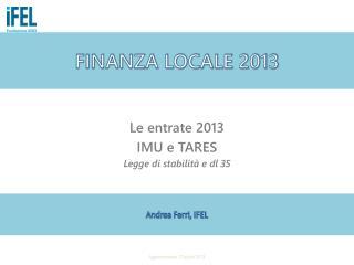 FINANZA LOCALE 2013