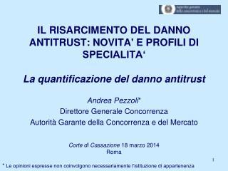 Andrea Pezzoli * Direttore Generale Concorrenza Autorità Garante della Concorrenza e del Mercato