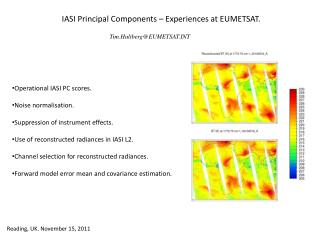 IASI Principal Components –  Experiences at EUMETSAT .