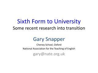 Sixth Form to University Some recent research into transition