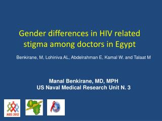 Gender differences in HIV related stigma among doctors in Egypt
