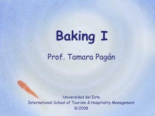 Baking I