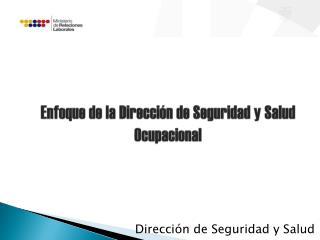 Enfoque de la Dirección de Seguridad y Salud Ocupacional