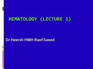 Hematology (lecture  1)