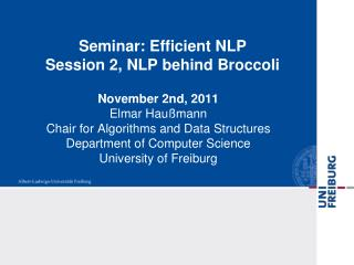 Seminar: Efficient NLP Session 2, NLP behind Broccoli
