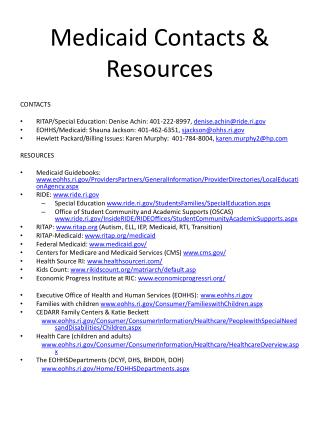 Medicaid Contacts & Resources