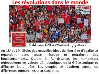 Les révolutions dans le monde