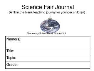 Science Fair Journal A fill in the blank teaching journal for ...