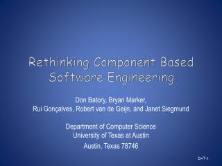 Rethinking Component Based Software Engineering