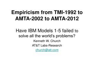 Empiricism from TMI-1992 to AMTA-2002 to AMTA-2012