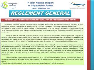 ADHESION AUX CONDITIONS GENERALES DE LOCATION ET D'AMENAGEMENT DE STANDS