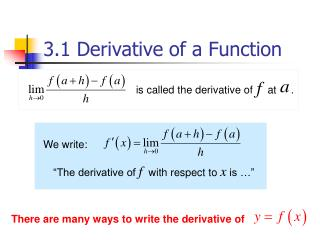 3.1 Derivative of a Function