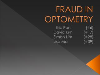 FRAUD IN OPTOMETRY