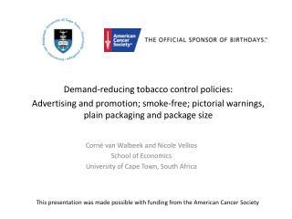 Demand-reducing tobacco control policies: