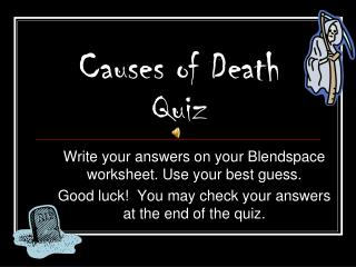 Causes of Death Quiz