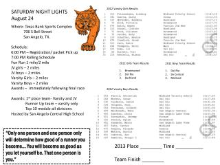 SATURDAY NIGHT LIGHTS August 24