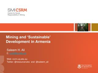 Mining and  'Sustainable'  Development  in Armenia