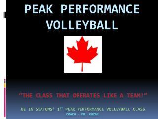 Peak performance volleyball