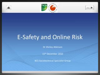 E-Safety and Online Risk