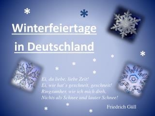 Winterfeiertage in Deutschland