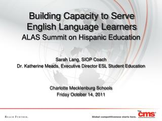 Building Capacity to Serve English Language Learners