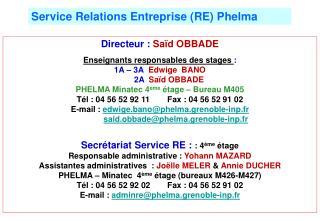 Directeur :  Saïd OBBADE Enseignants responsables des stages  :   1A – 3A Edwige  BANO