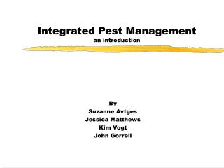 Integrated Pest Management an introduction