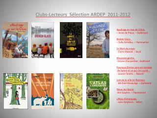 Clubs-Lecteurs   Sélection ARDEP  2011-2012