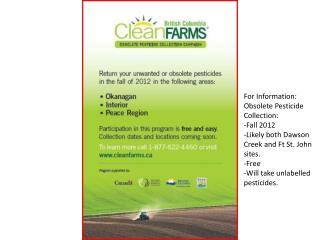 For Information: Obsolete Pesticide Collection: -Fall 2012