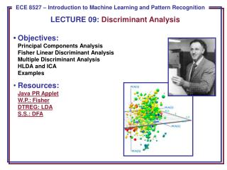 LECTURE  09:  Discriminant Analysis