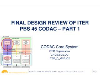 FINAL DESIGN REVIEW OF ITER PBS 45 CODAC – PART 1