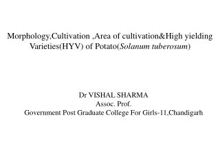 Dr VISHAL SHARMA Assoc.  Prof. Government Post Graduate College For Girls-11,Chandigarh